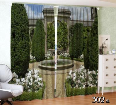 ФотоШторы Французский сад с фонтаном