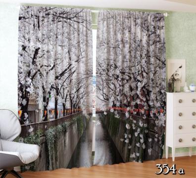 ФотоШторы Вишневый цветочный тоннель над рекой