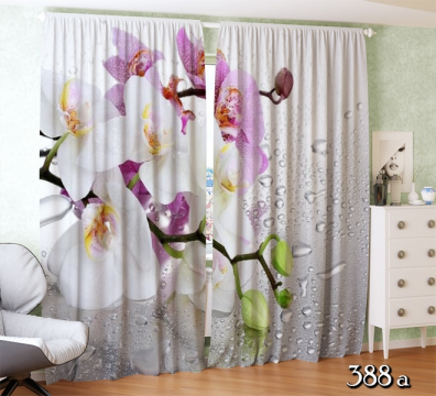 ФотоШторы  Розовые и белые орхидеи с каплями
