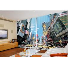 """Широкие фотошторы """"Тайм-сквер в Нью-Йорке"""""""