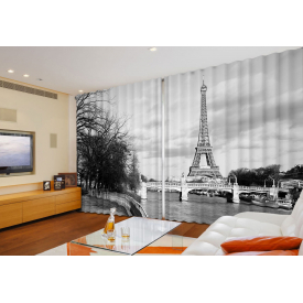 """Широкие фотошторы """"Черно-белый. Париж..."""""""