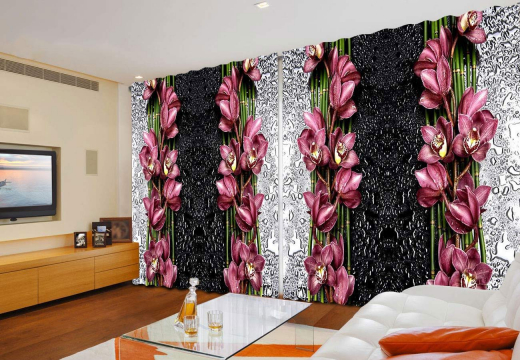 Широкие ФотоШторы Орхидеи на серо-черном фоне
