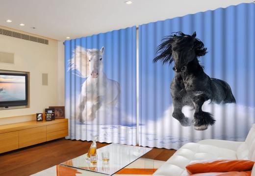 Фотошторы Широкие Великолепные кони